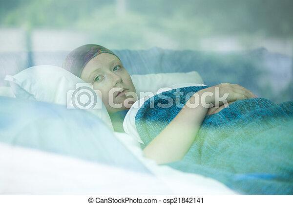 souffrance, femme, jeune, cancer - csp21842141