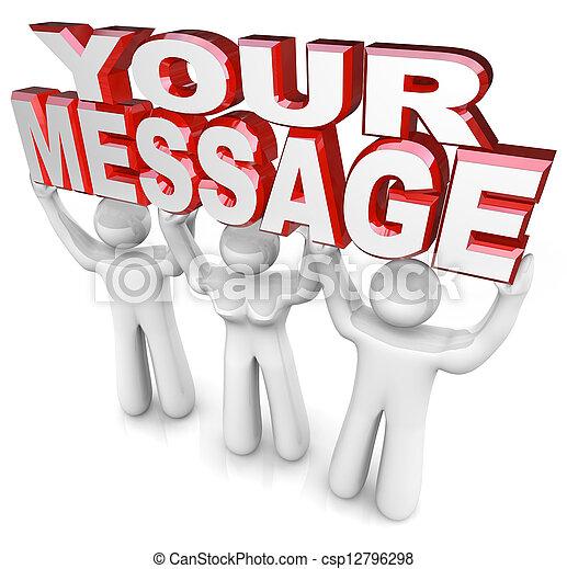 soulevé, mot, aide, gens, fournir, obtenir, trois, vous, publicité, mots, équipe, message, ton, dehors - csp12796298