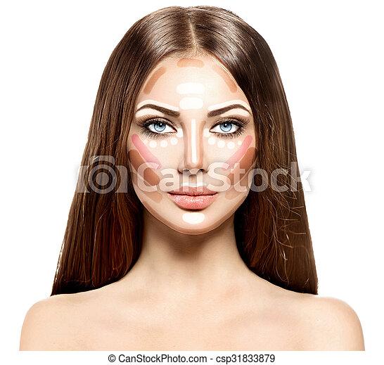 souligner, face., femme, contour, maquillage - csp31833879