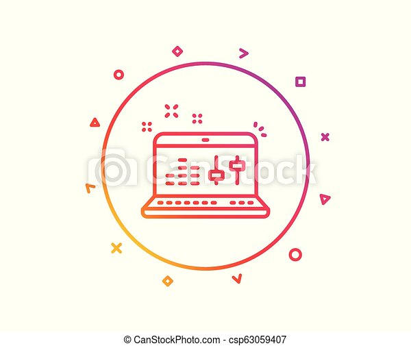 Sound check line icon  DJ controller sign  Vector