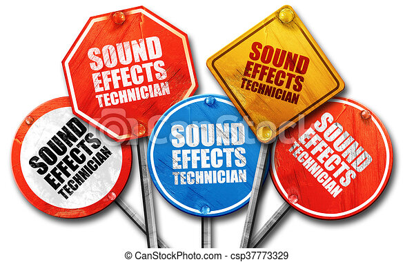 sound effects technician, 3D rendering, rough street sign collec