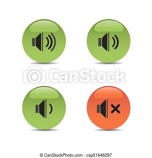 Sound icons on colored buttons and white background - csp51646297