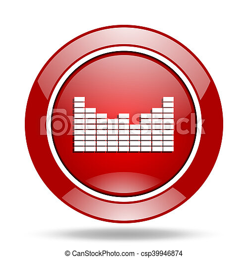 sound red web glossy round icon - csp39946874
