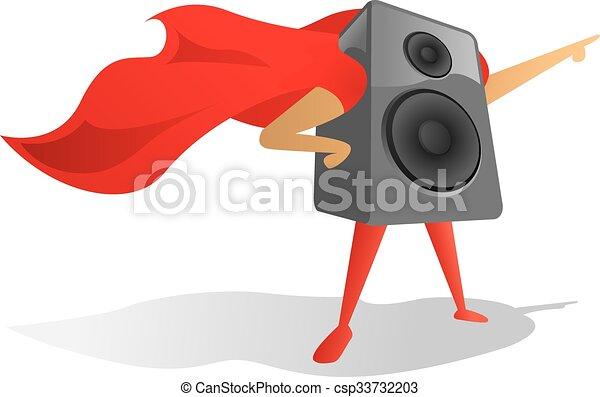 Sound speaker super hero proudly pointing  - csp33732203