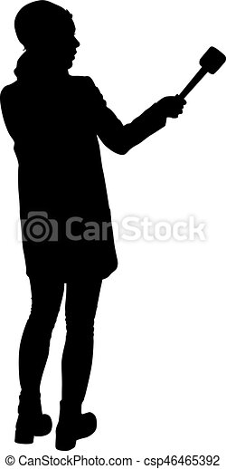 Sound technician with microphone in hand. Silhouettes on white background - csp46465392