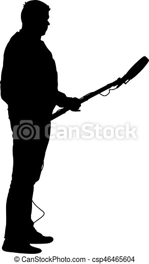 Sound technician with microphone in hand. Silhouettes on white background - csp46465604