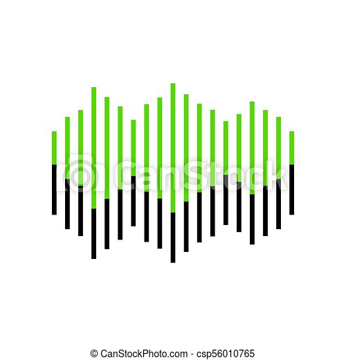 sound waves icon vector green 3d icon with black side on clip rh canstockphoto com