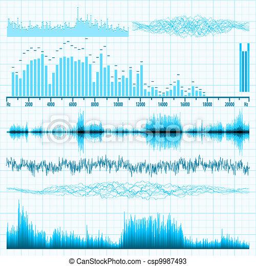 Sound waves set. Music background. EPS 8 - csp9987493