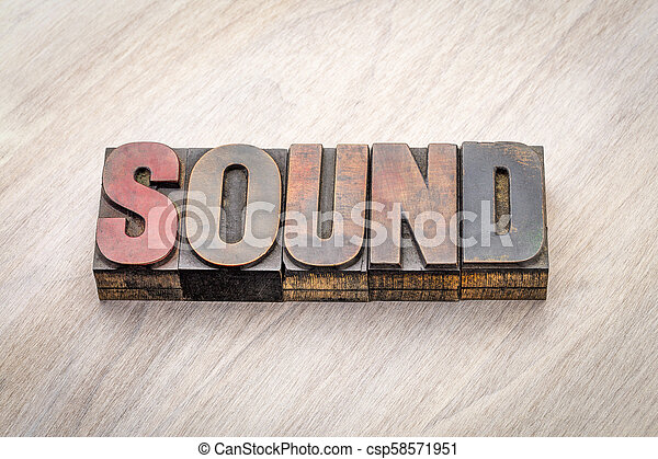 sound word abstract in wood type - csp58571951