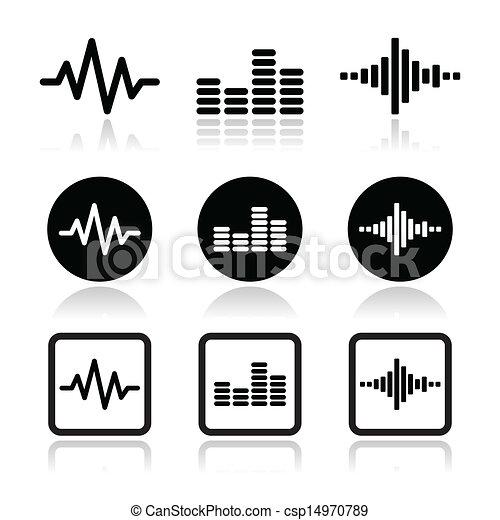 soundwave music vector icons set - csp14970789