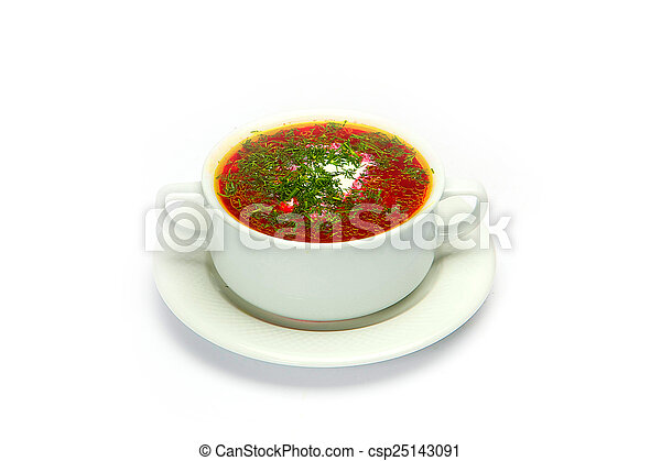 Soup bowl global view on pure white background - csp25143091