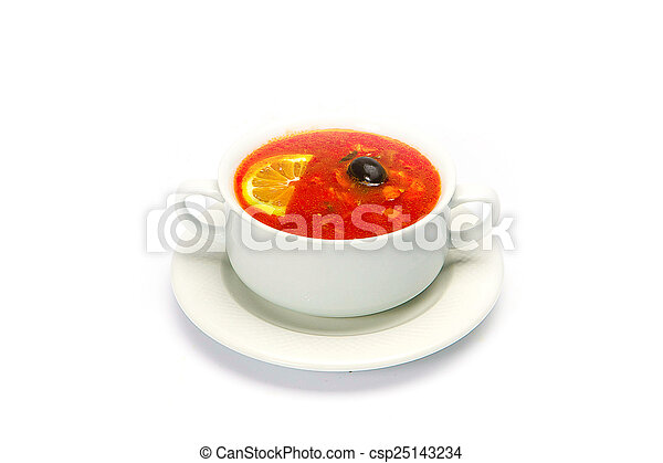 Soup bowl global view on pure white background - csp25143234