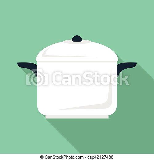 Soup pan icon, flat style - csp42127488