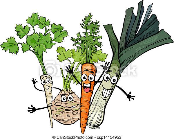 soup vegetables group cartoon illustration - csp14154953