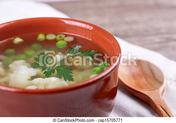 soup with fresh vegetables - csp15705771