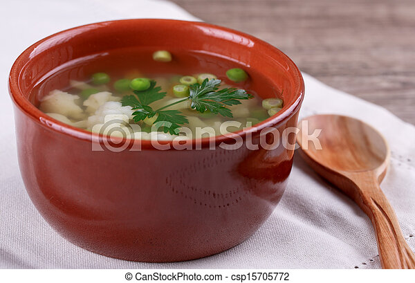 soup with fresh vegetables - csp15705772