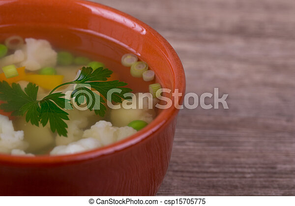 soup with fresh vegetables - csp15705775