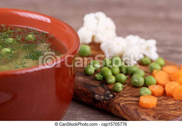 soup with fresh vegetables - csp15705776
