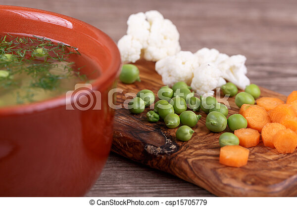 soup with fresh vegetables - csp15705779