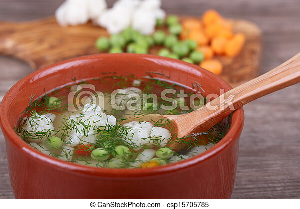 soup with fresh vegetables - csp15705785