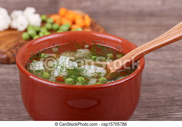 soup with fresh vegetables - csp15705786