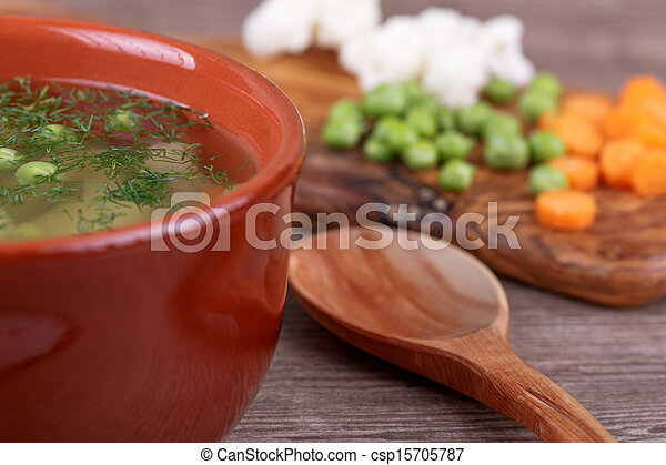 soup with fresh vegetables - csp15705787