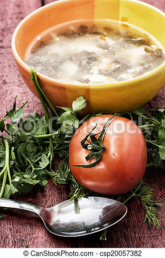 soup with fresh vegetables - csp20057382