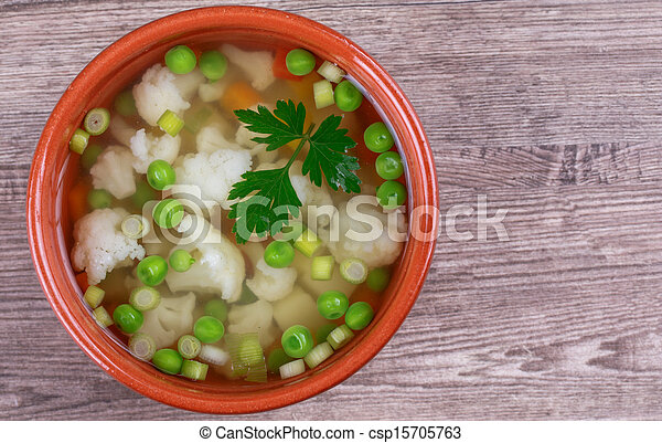 soup with fresh vegetables - csp15705763