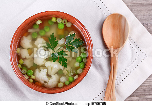soup with fresh vegetables - csp15705765