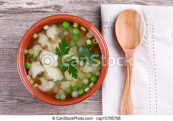 soup with fresh vegetables - csp15705768