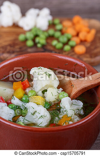 soup with fresh vegetables - csp15705791