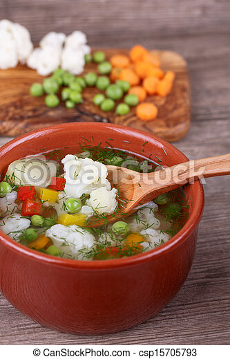 soup with fresh vegetables - csp15705793