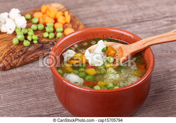 soup with fresh vegetables - csp15705794