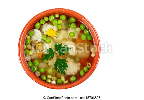 soup with fresh vegetables - csp15706898