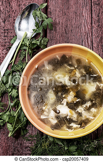 soup with fresh vegetables - csp20057409