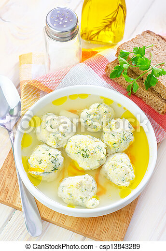 soup with meat balls - csp13843289