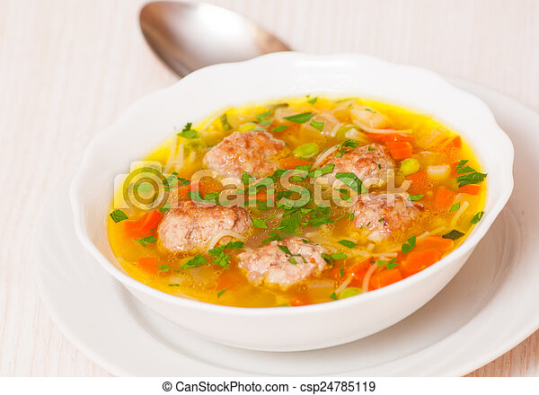 Soup with meatballs - csp24785119