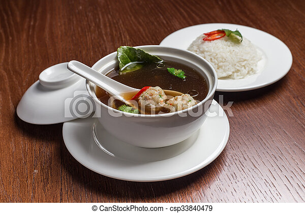 Soup with meatballs. - csp33840479