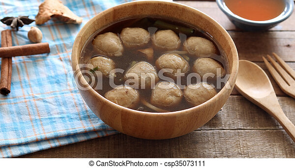 Soup with meatballs - csp35073111