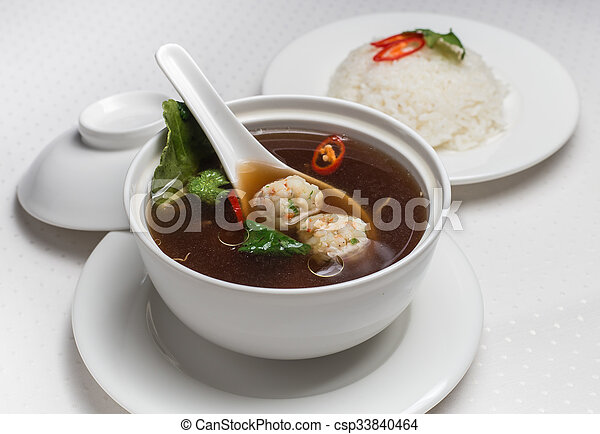 Soup with meatballs. - csp33840464