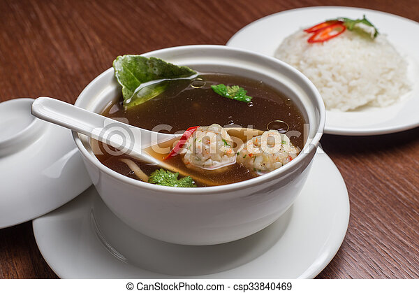 Soup with meatballs. - csp33840469
