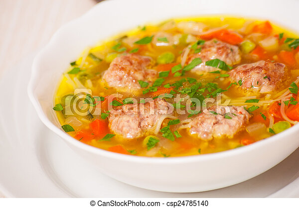 Soup with meatballs - csp24785140