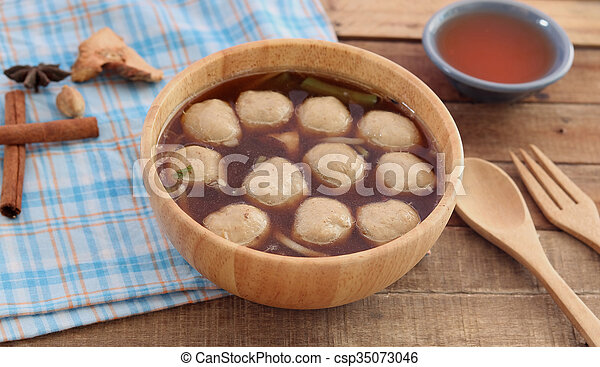 Soup with meatballs - csp35073046