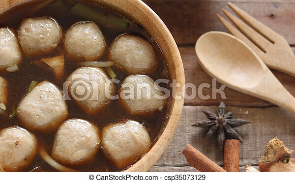 Soup with meatballs - csp35073129