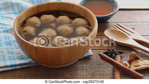 Soup with meatballs - csp35073140