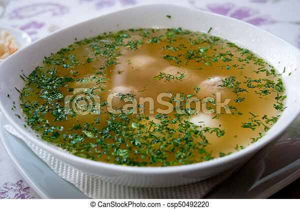 Soup with meatballs . - csp50492220