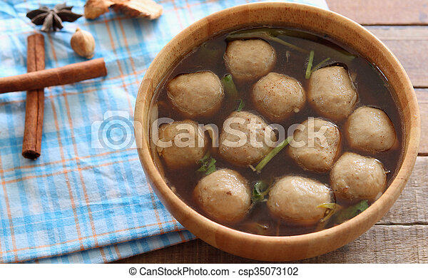 Soup with meatballs - csp35073102