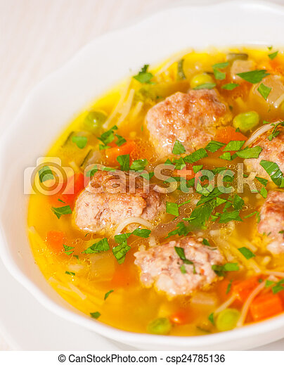 Soup with meatballs - csp24785136