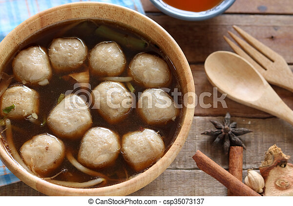 Soup with meatballs - csp35073137