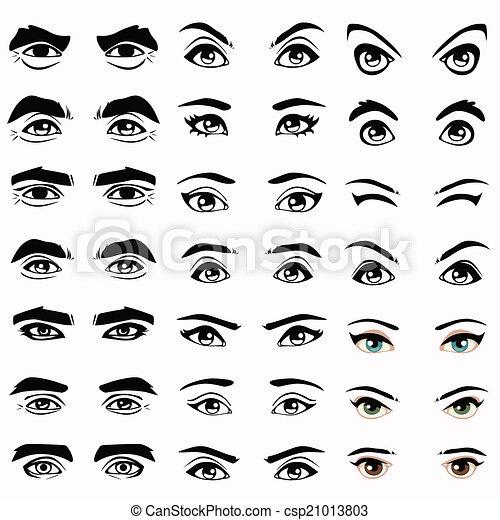 Favori Clipart Vecteur de sourcils, yeux, silhouette, vecteur, femme  IQ38